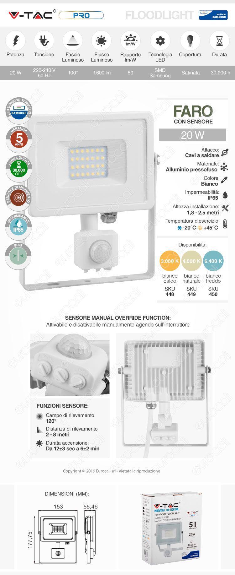 V-Tac PRO VT-20-S Faretto LED 20W Ultra Sottile Slim Chip Samsung con Sensore Colore Nero