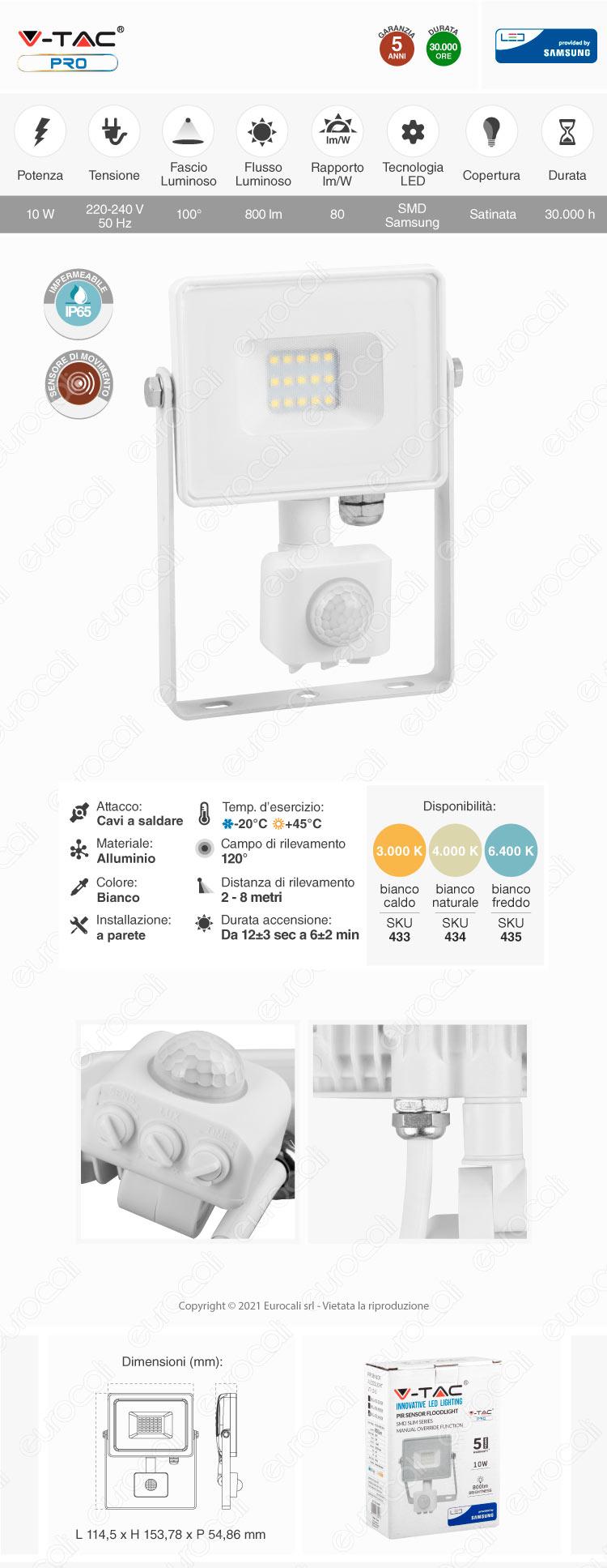 V-Tac PRO VT-10-S Faretto LED 10W Ultra Sottile Slim Chip Samsung con Sensore Colore Nero