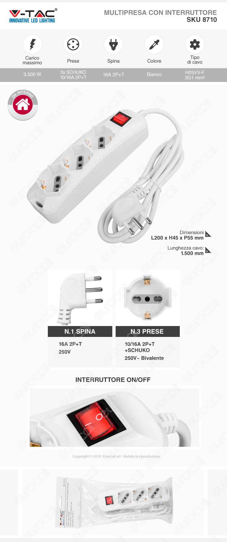 V-Tac Multipresa 3 Posti Colore Bianco con Interruttore Luminoso