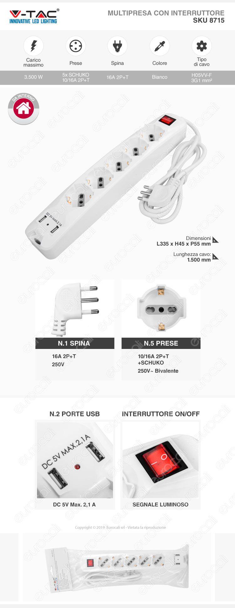 V-Tac Multipresa 5 Posti e 2 Prese USB Colore Bianco con Interruttore Luminoso