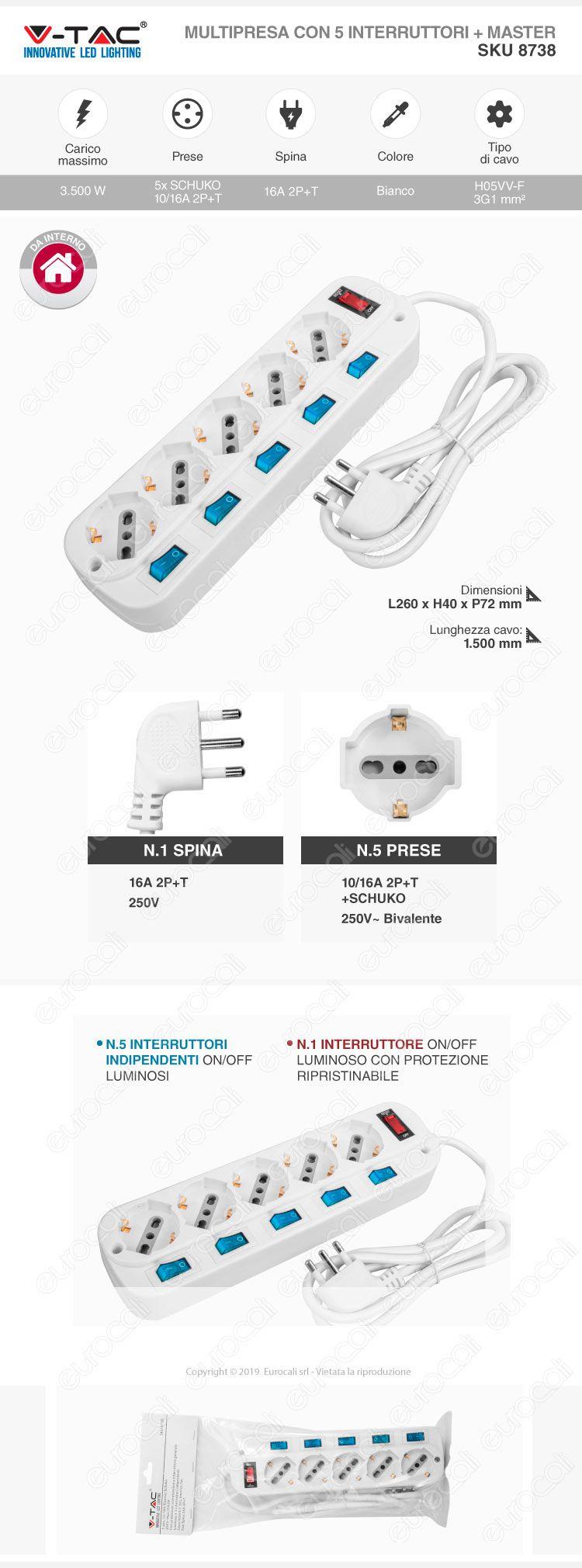 V-Tac Multipresa 5 Posti Colore Bianco con Interruttori Singoli e Generale e Protezione Ripristinabile