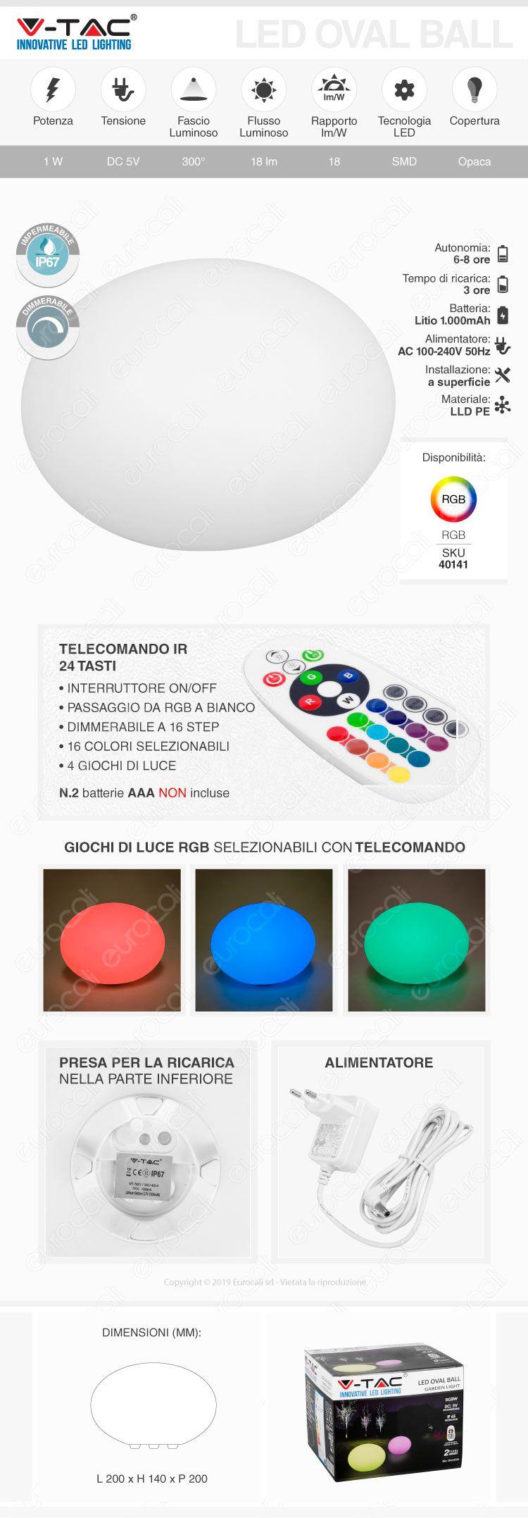 V-Tac VT-7801 Sfera Ovale Multicolor LED RGB 1W Ricaricabile con Telecomando IP67