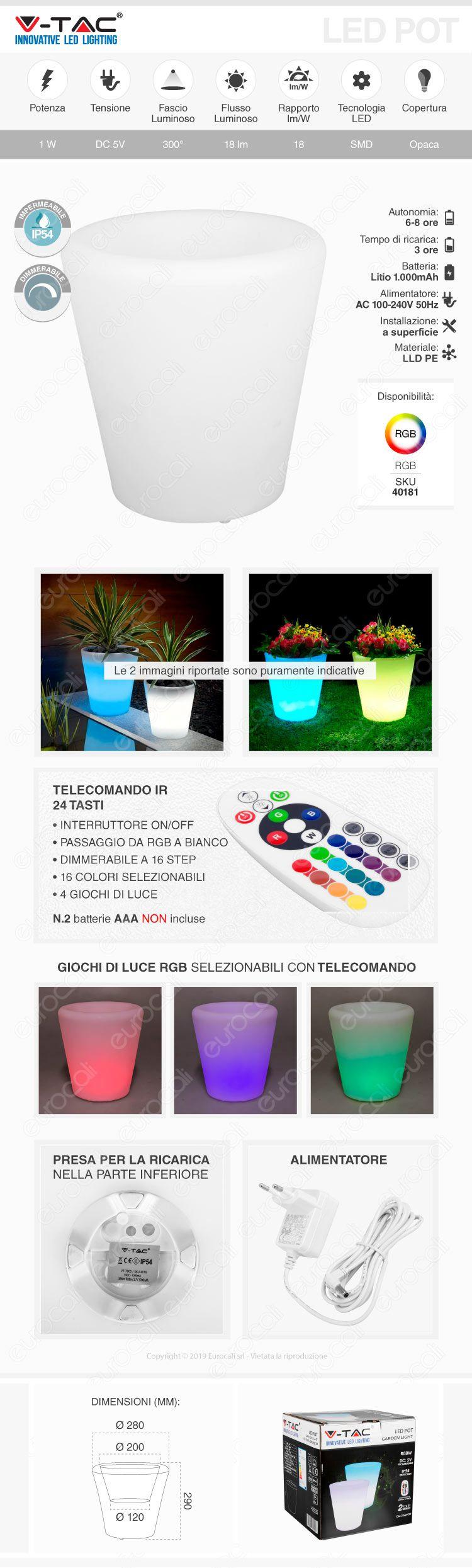 V-Tac VT-7805 Lampada a Forma di Vaso Multicolor RGB LED 1W Ricaricabile con Telecomando IP54