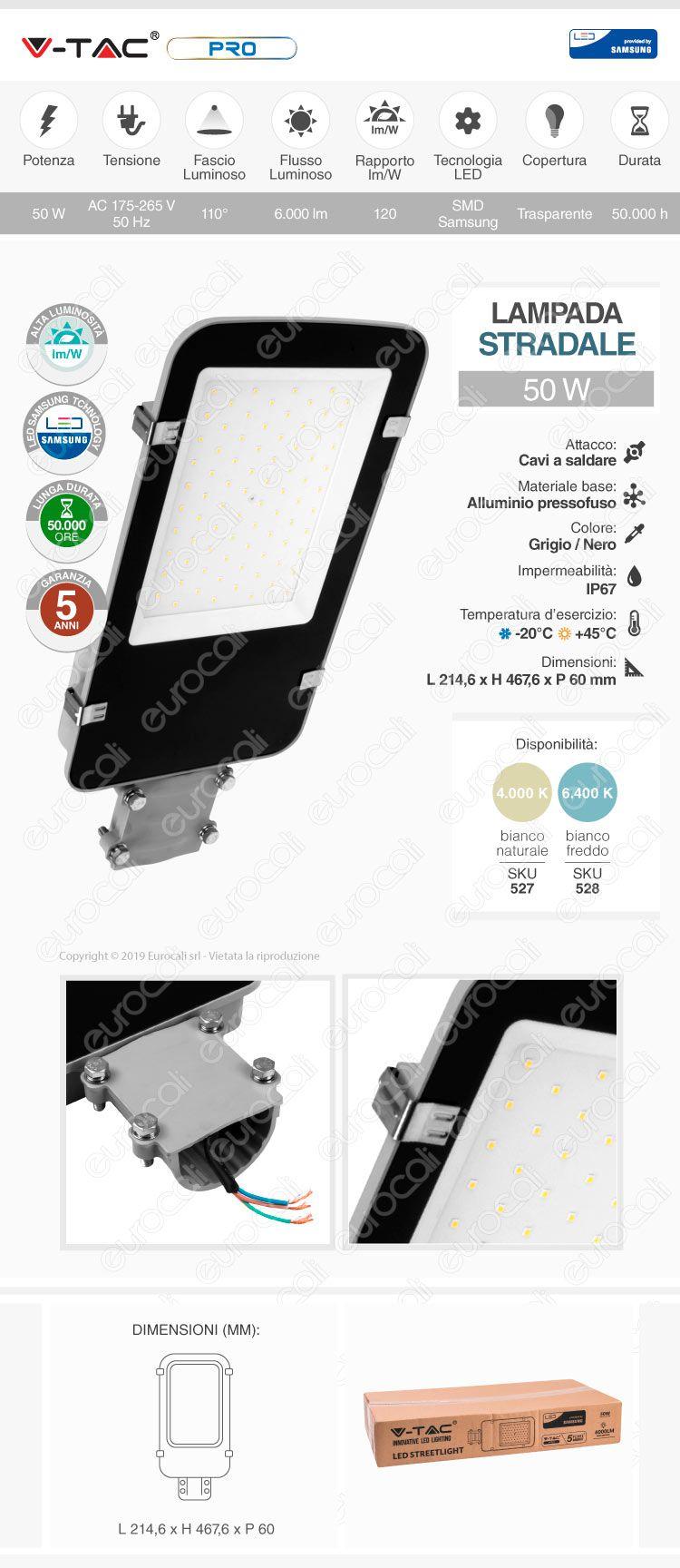 V-Tac PRO VT-50ST Lampada Stradale LED 50W Lampione SMD Chip Samsung