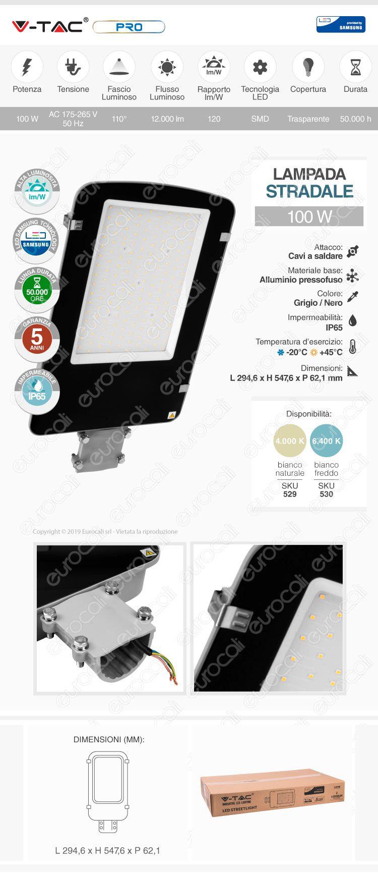 V-Tac PRO VT-100ST Lampada Stradale LED 100W Lampione SMD Chip Samsung