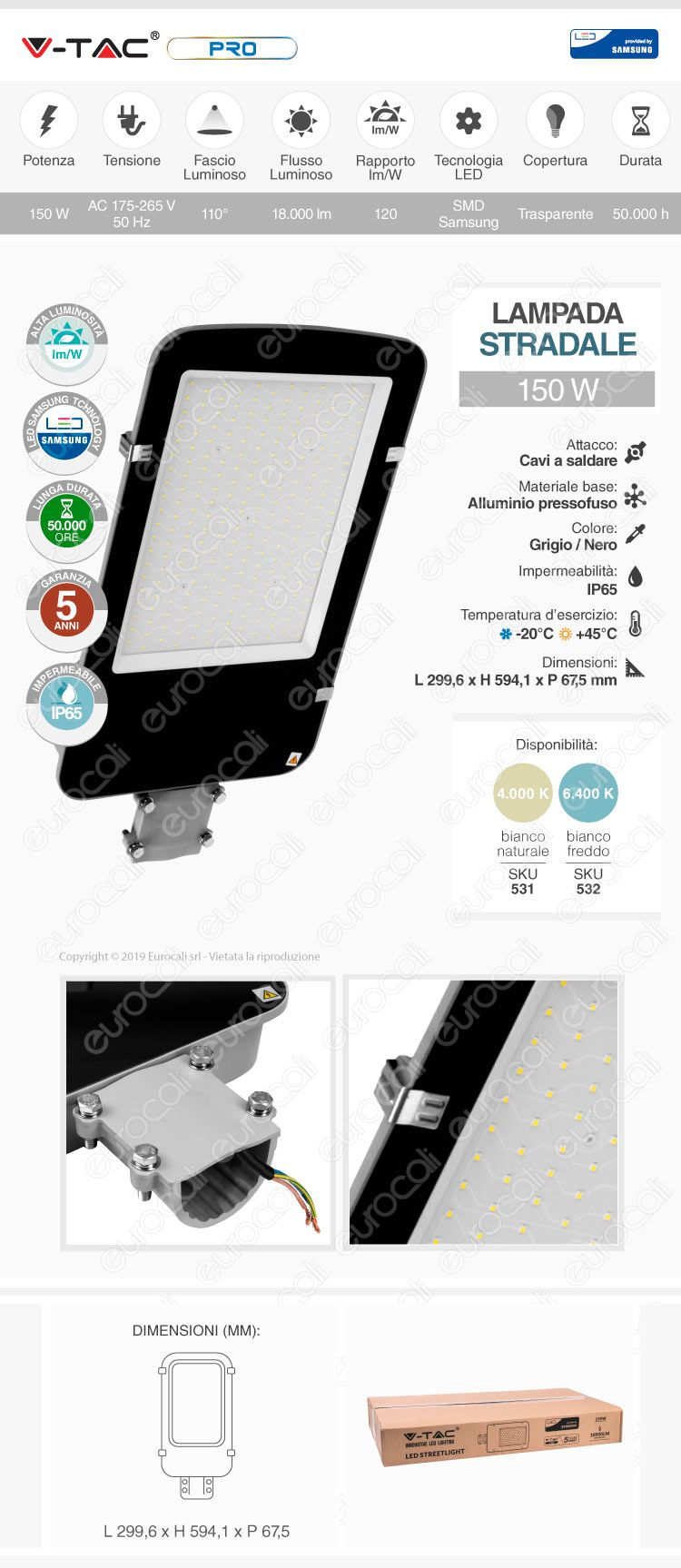 V-Tac PRO VT-150ST Lampada Stradale LED 150W Lampione SMD Chip Samsung