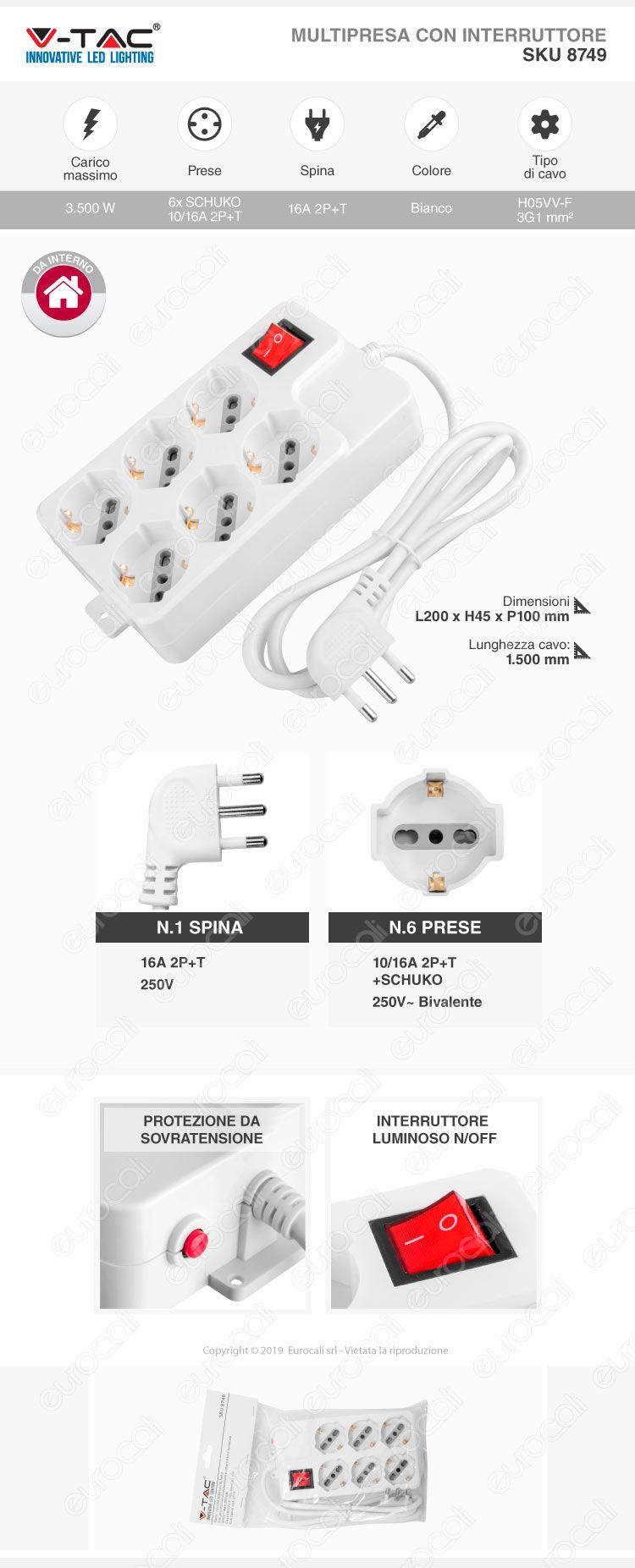 V-Tac Multipresa 6 Posti Colore Bianco con Interruttore Luminoso e Protezione Ripristinabile
