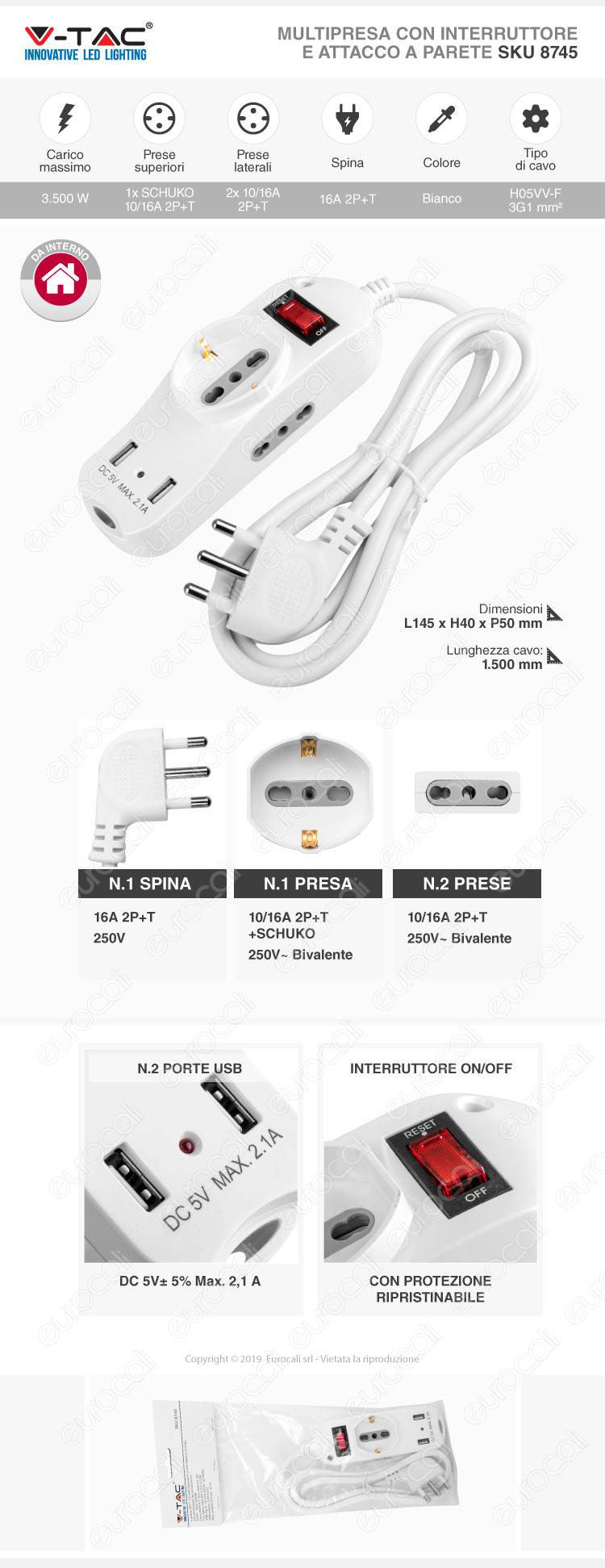 V-Tac Multipresa 3 Posti e 2 Prese USB Colore Bianco con Protezione Ripristinabile