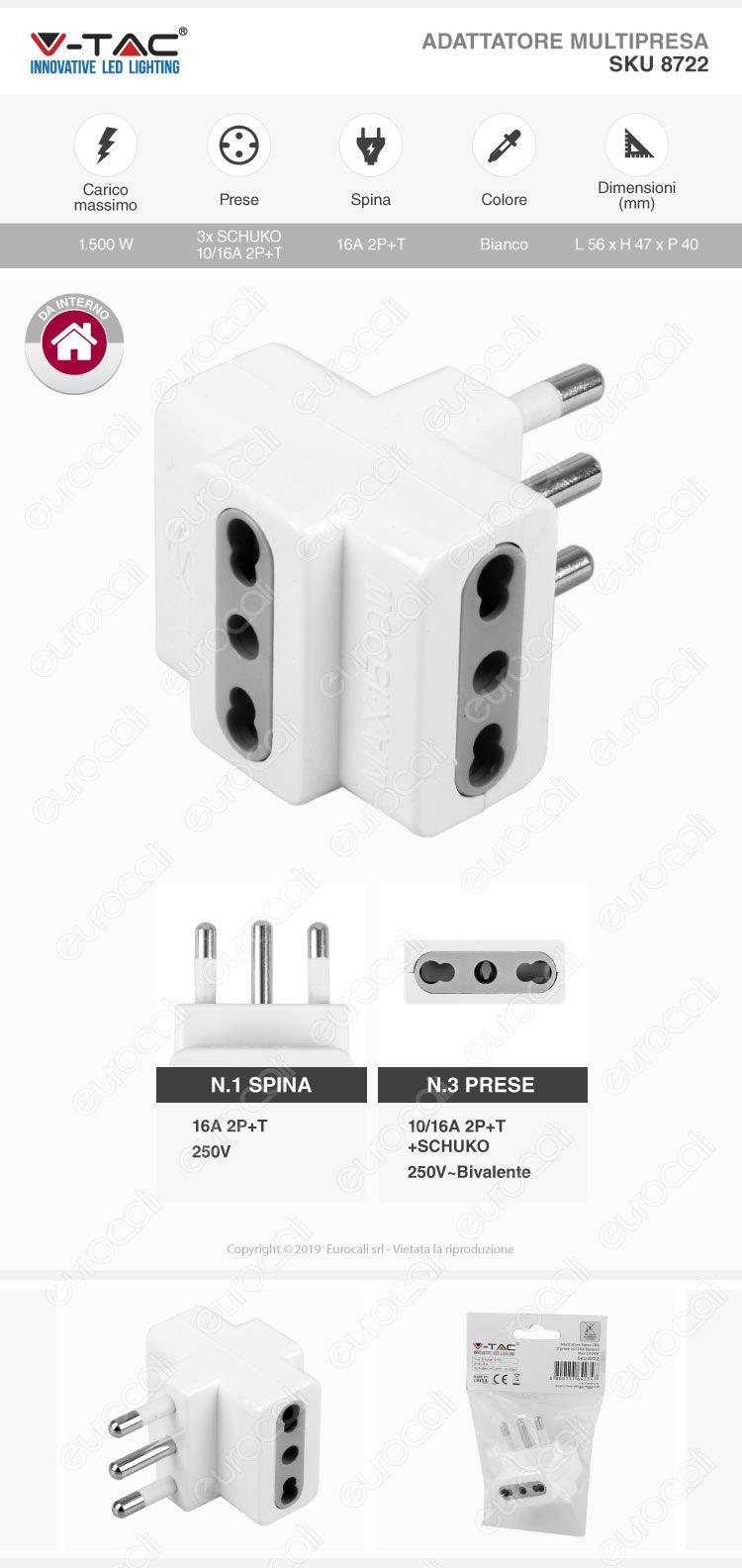 V-Tac Multipresa Adattatore Triplo con Spina 16A