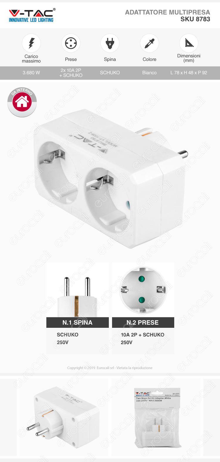 V-Tac Multipresa Adattatore Triplo con Schuko Bianco