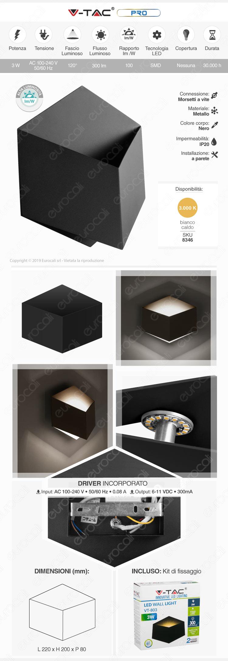V-Tac VT-803 Lampada LED da Muro Wall Light Nero 3W