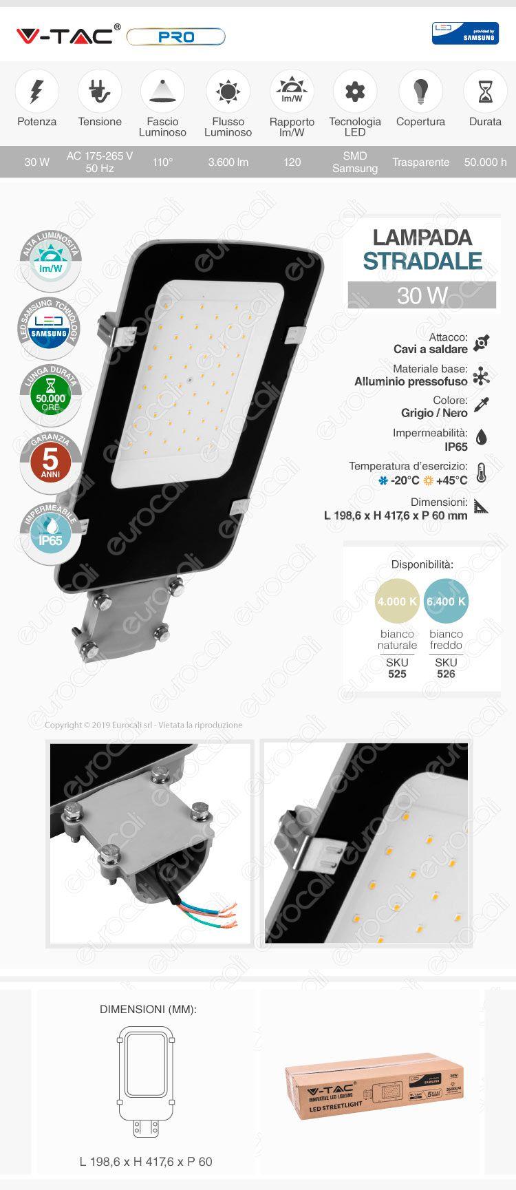 V-Tac PRO VT-30ST Lampada Stradale LED 30W Lampione SMD Chip Samsung