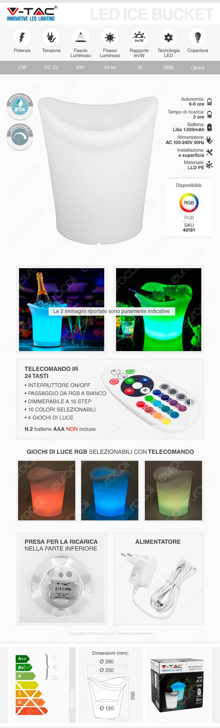 V-Tac VT-7806 Lampada LED Ice Bucket Multicolor RGB LED 3W Ricaricabile con Telecomando IP54