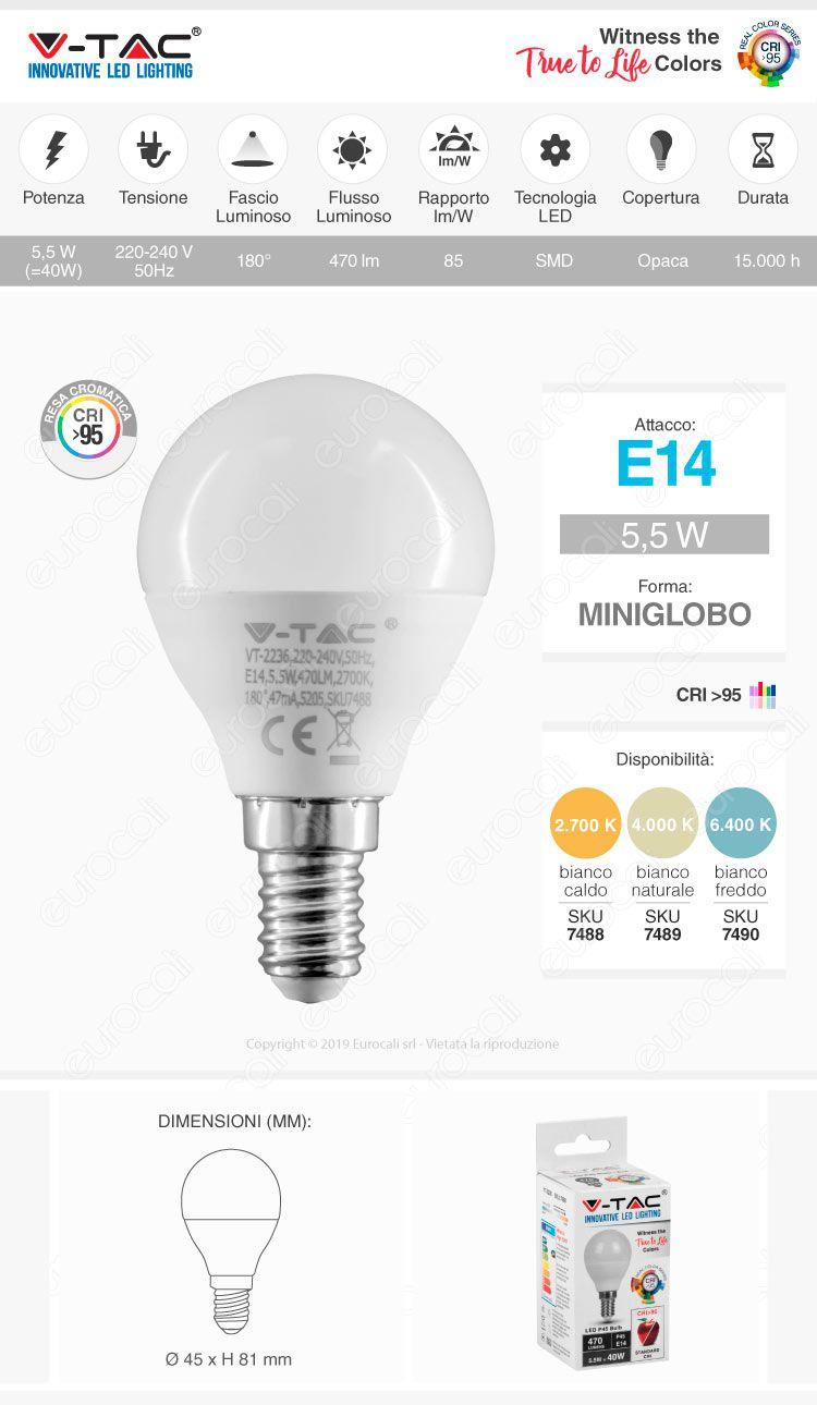 V-Tac VT-2236 Lampadina LED E14 5,5W MiniGlobo P45 CRI ≥95