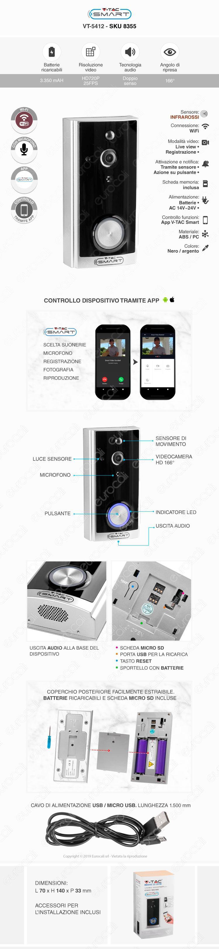 V-Tac Smart VT-5412 Videocitofono Wi-Fi con Funzioni di Sorveglianza