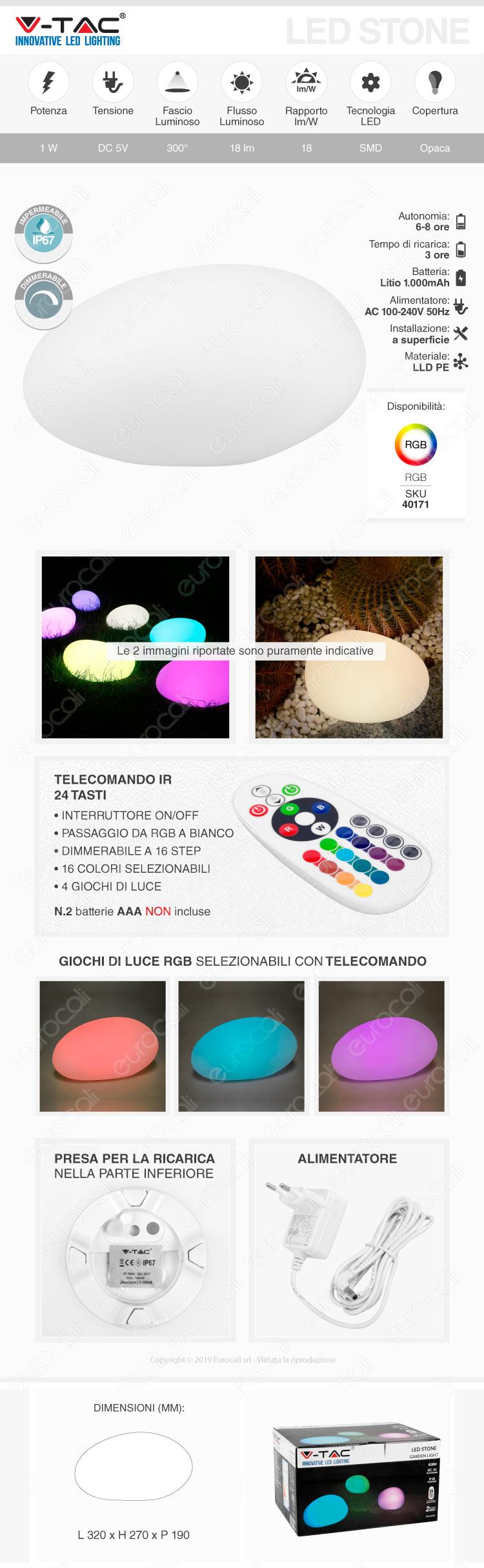 VT-7802 V-Tac LED Stone Multicolor RGB 1W Ricaricabile con Telecomando IP67
