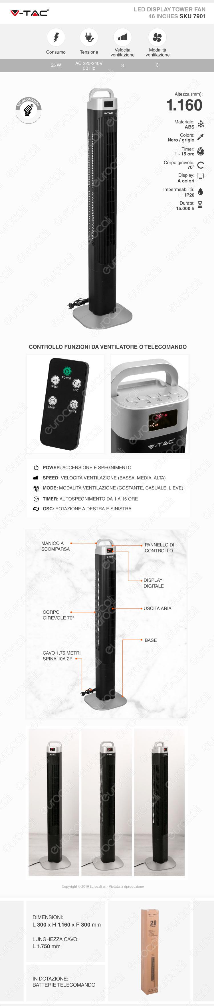 V-Tac VT-5536 Tower Fan 36 Inches con Display Temperatura e Telecomando