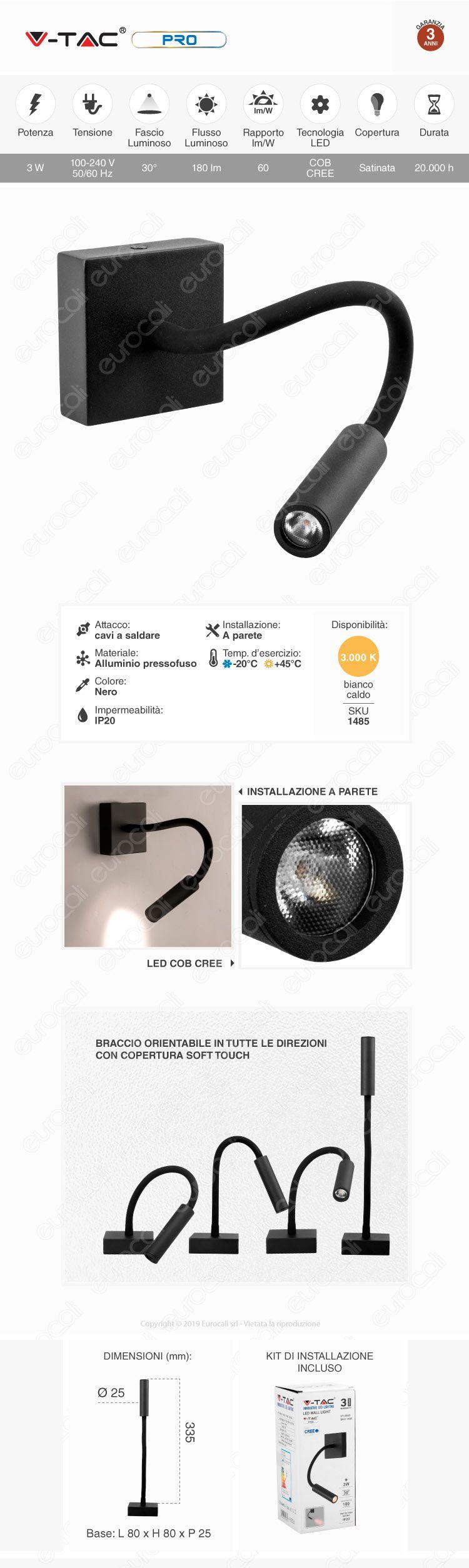 VT-2903 V-Tac PRO Lampada da Muro Wall Light LED CREE 3W Colore Nero