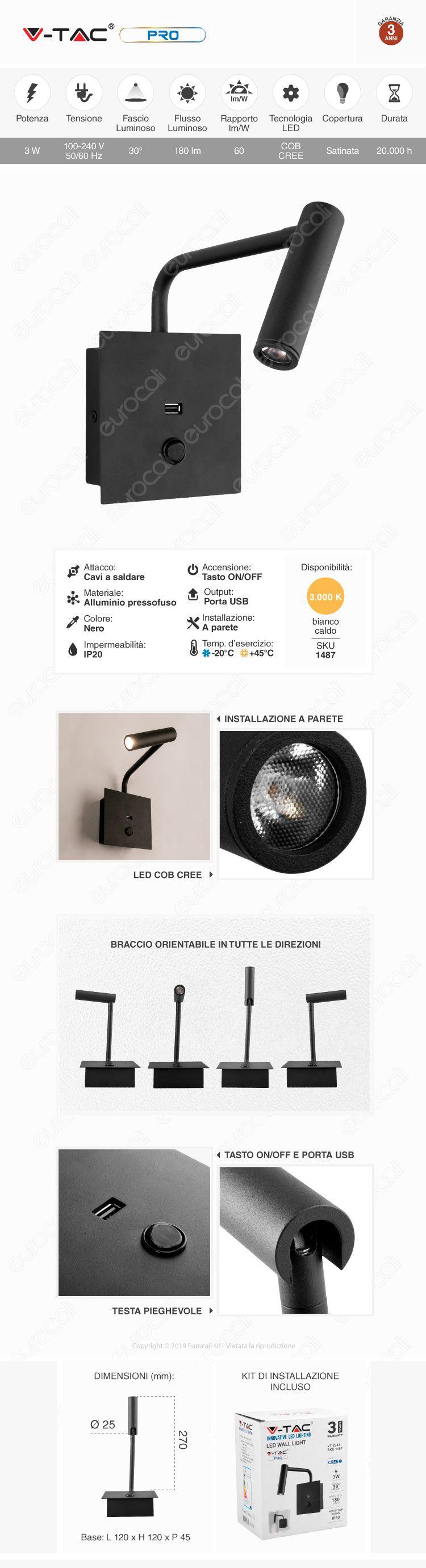 V-Tac PRO VT-2943 Lampada da Muro Wall Light LED CREE 3W Colore Nero con USB