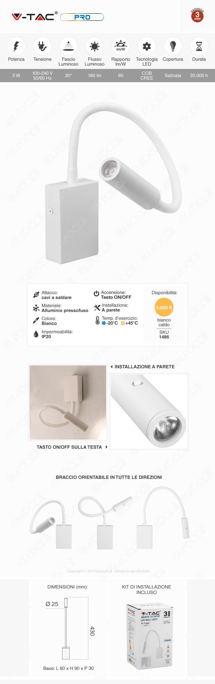 V-Tac PRO VT-2913 Lampada da Muro Wall Light LED CREE 3W Colore Bianco