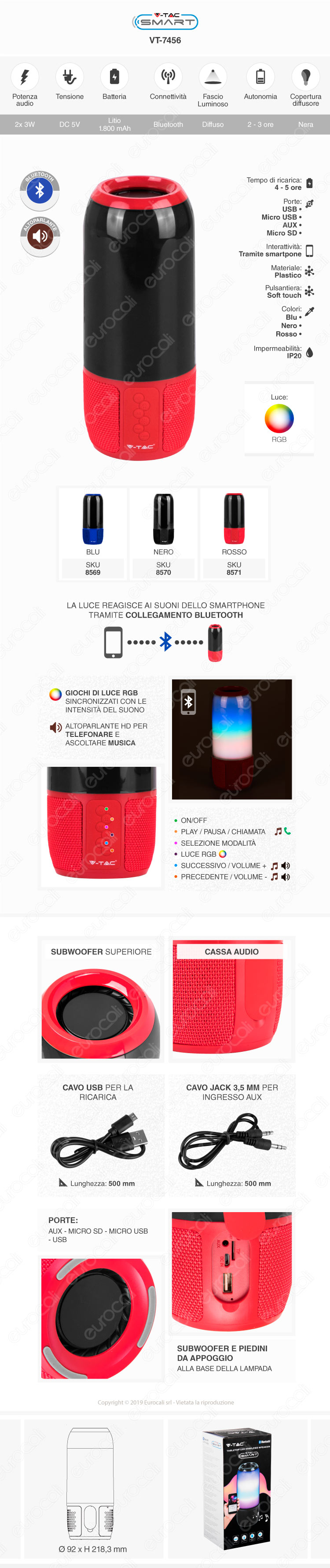V-Tac VT-7456 Lampada Smart da Tavolo LED RGB 6W con Speaker