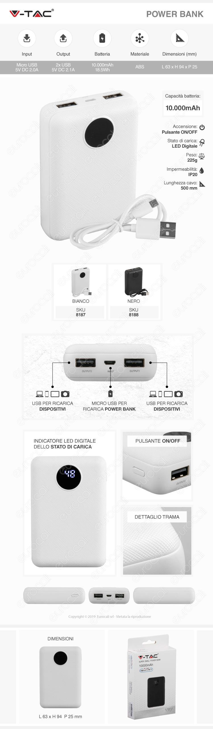V-Tac VT-3501 Power Bank Portatile 10000 mAh 2 Uscite USB 2,1A
