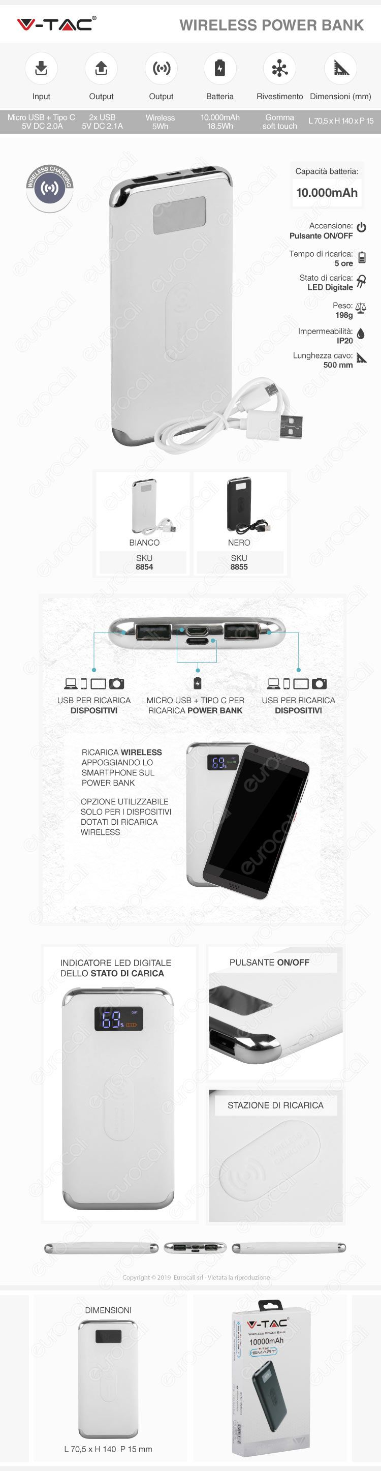 V-Tac VT-3505 Power Bank con Ricarica Wireless 10000 mAh 2 Uscite USB 2,1A