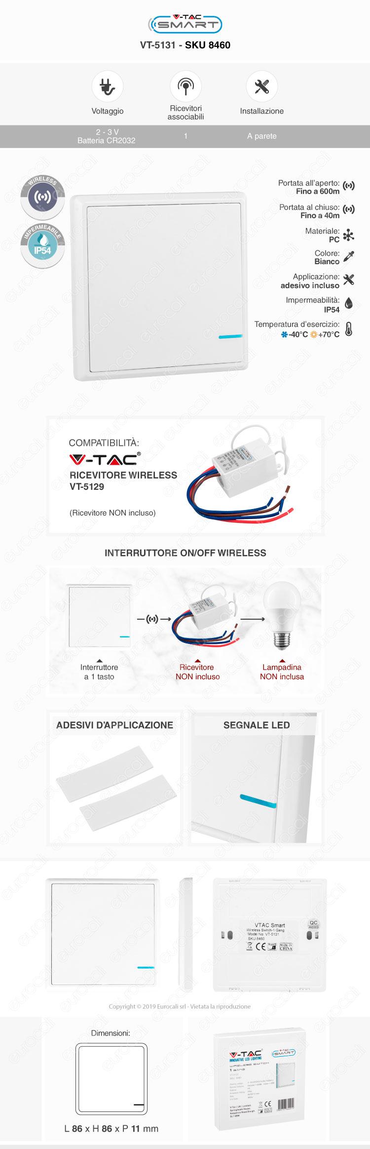 V-Tac VT-5131 Interruttore Wireless 1 Gang Senza Fili con Luce LED IP54