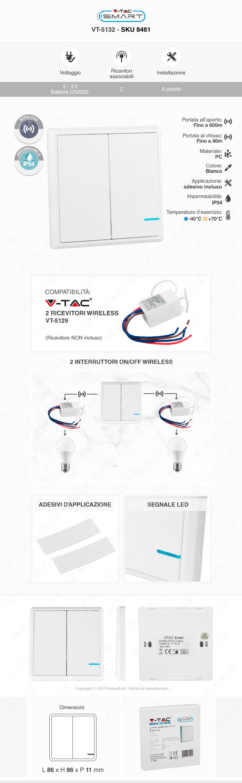 V-Tac VT-5132 Interruttore Wireless 2 Gang Senza Fili con Luce LED IP54