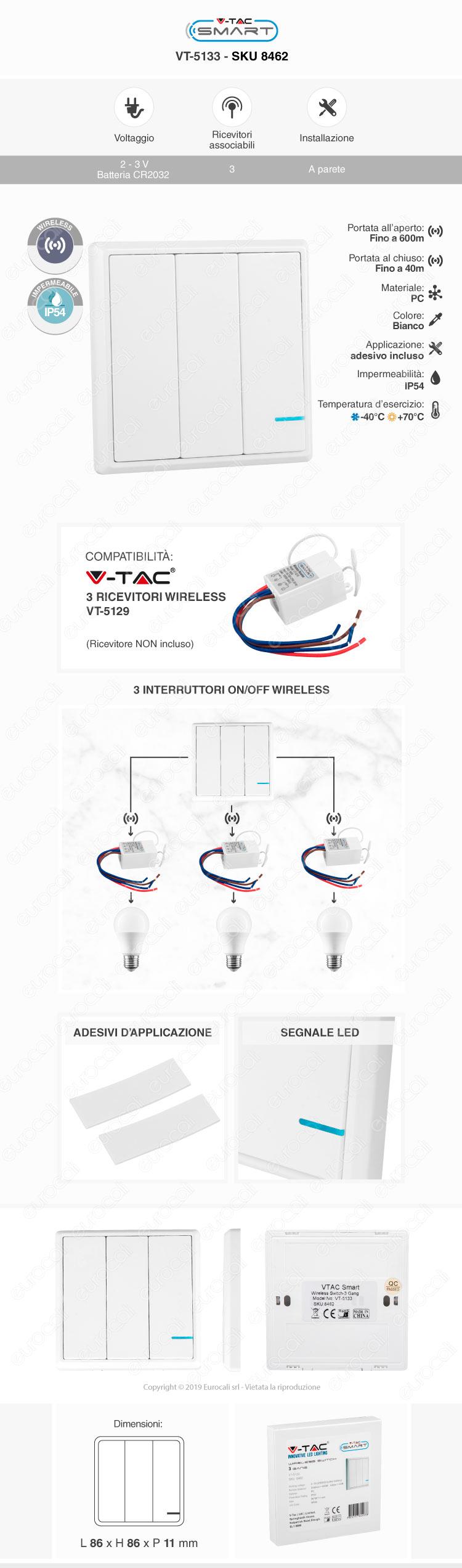 V-Tac VT-5133 Interruttore Wireless 3 Gang Senza Fili con Luce LED IP54