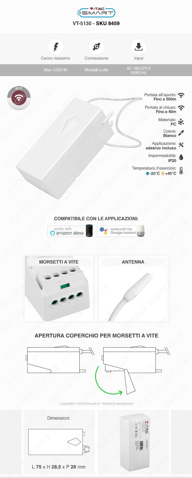 V-Tac VT-5130 Ricevitore Wi-Fi per App V-Tac Smart con Supporto per Amazon Alexa e Google Home