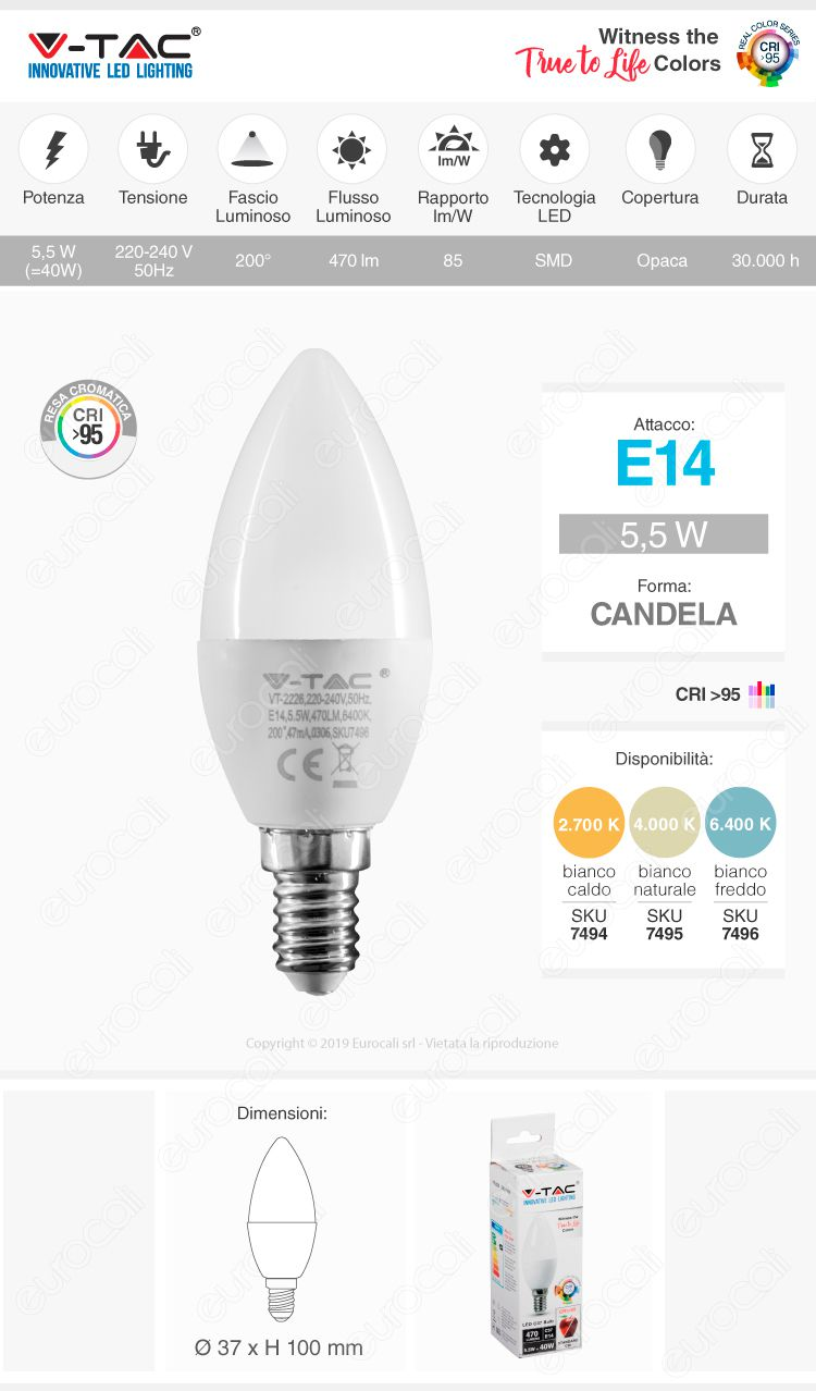 V-Tac VT-2226 Lampadina LED E14 5,5W Candela CRI ≥95