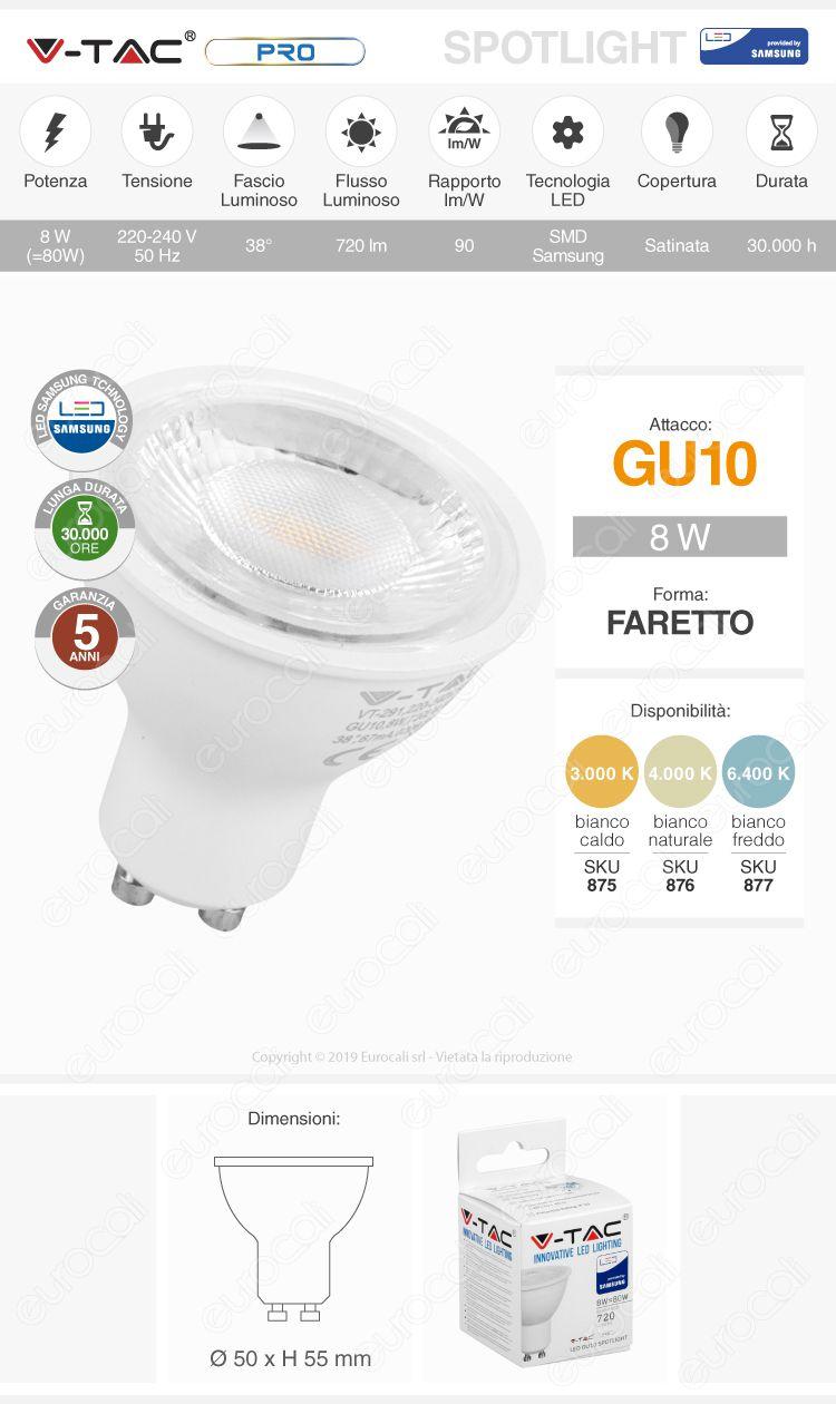 V-Tac PRO VT-291 Lampadina LED GU10 8W Faretto Spotlight Chip Samsung