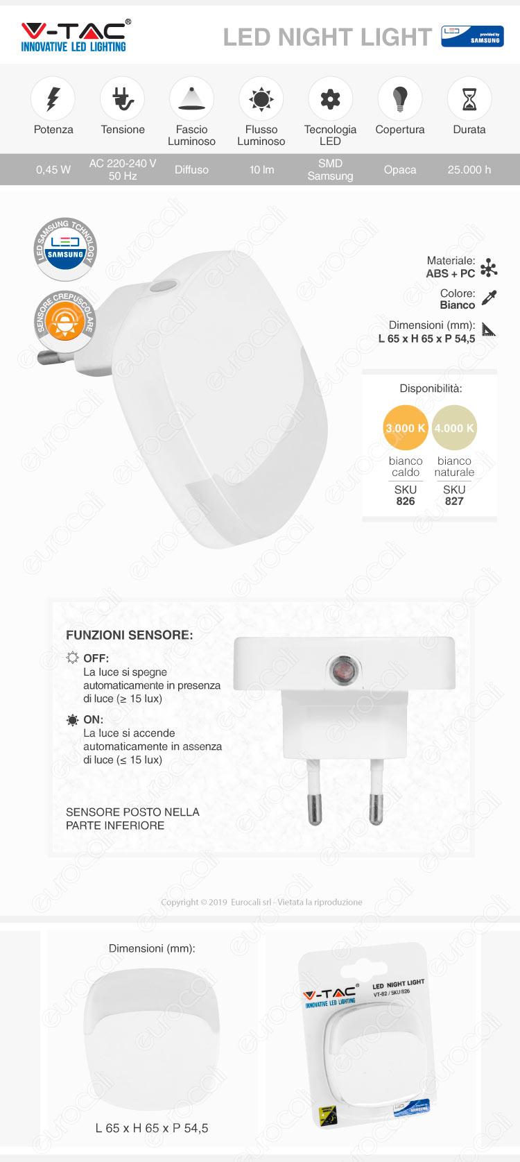 Punto Luce LED con Sensore Crepuscolare Velamp IL27 - mod.IL27LED