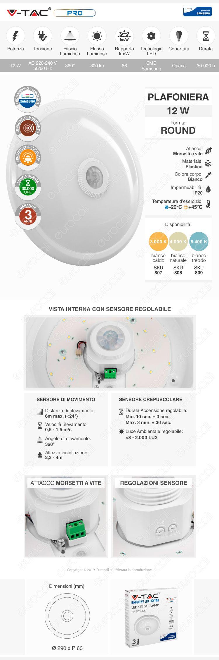 V-Tac PRO VT-13 Plafoniera LED 12W Forma Circolare con Sensore di Movimento Infrarossi
