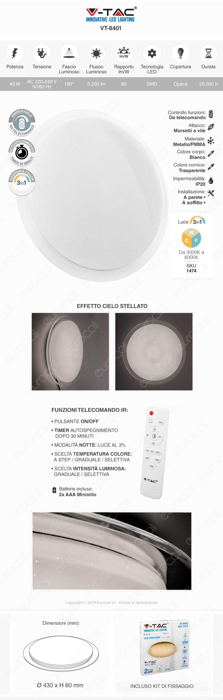 V-Tac VT-8401 Plafoniera LED 40W Forma Circolare Effetto Cielo Stellato con Telecomando