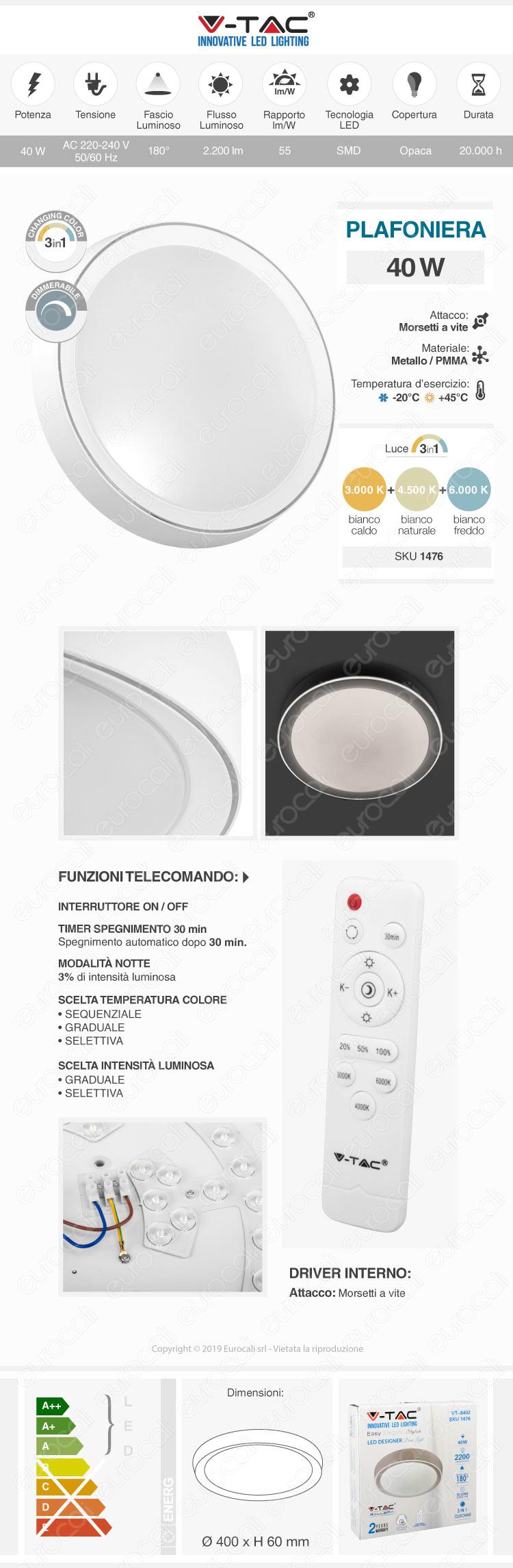 V-Tac VT-8402 Plafoniera LED 40W Forma Circolare con Telecomando