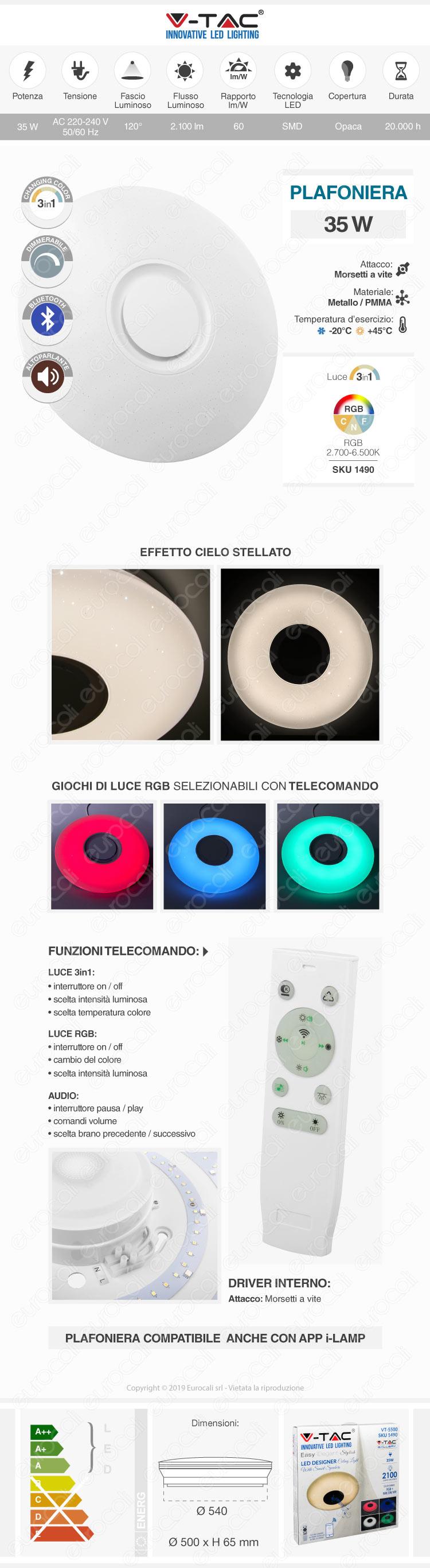VT-5500 V-Tac Plafoniera LED RGB 35W Forma Circolare Effetto Cielo Stellato con Altoparlante e Telecomando