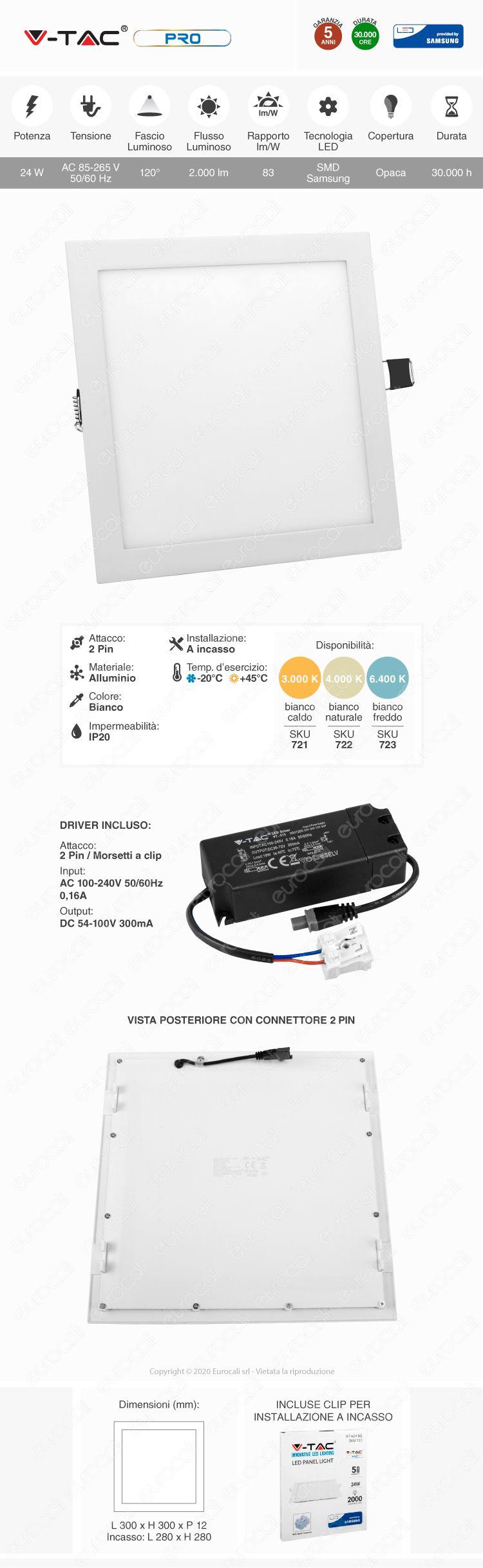 V-Tac PRO VT-624 SQ Pannello LED Quadrato 24W SMD da Incasso con Driver con Chip Samsung