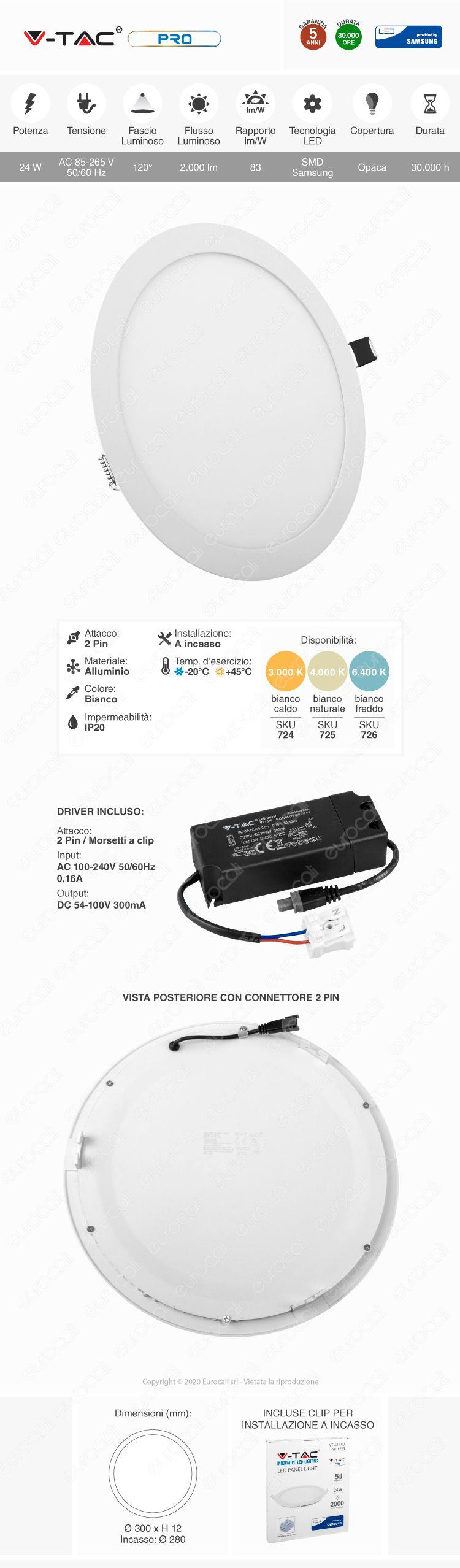 V-Tac PRO VT-624 RD Pannello LED Rotondo 24W SMD da Incasso con Driver con Chip Samsung