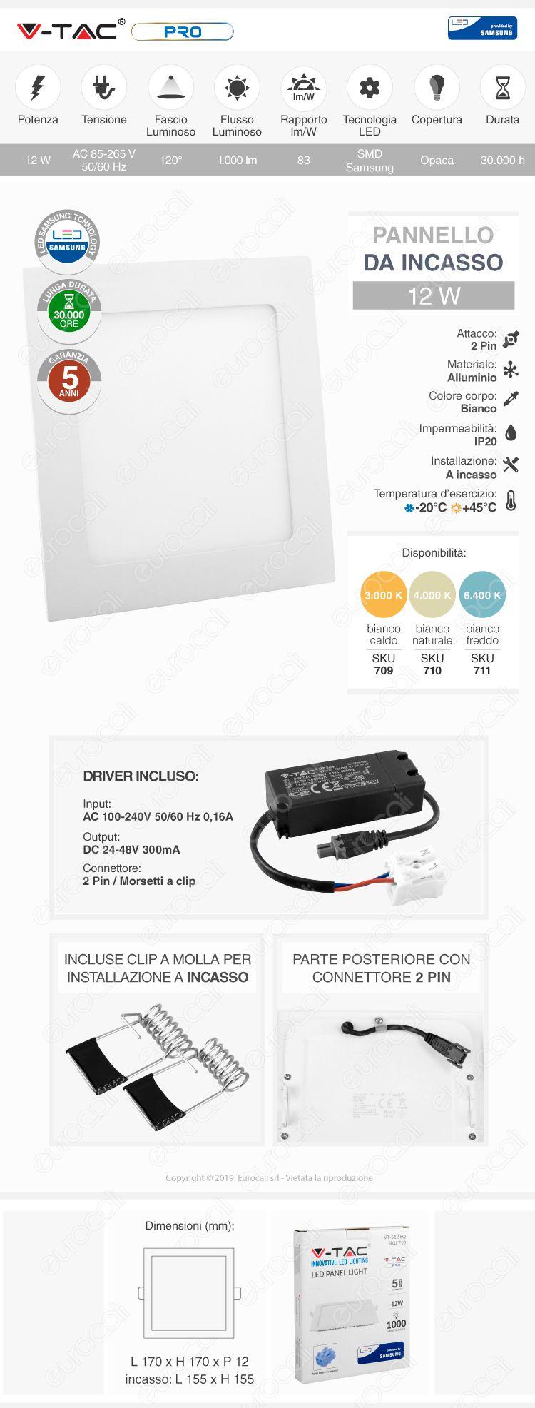 V-Tac PRO VT-618 RD Pannello LED Rotondo 18W SMD da Incasso con Driver con Chip Samsung