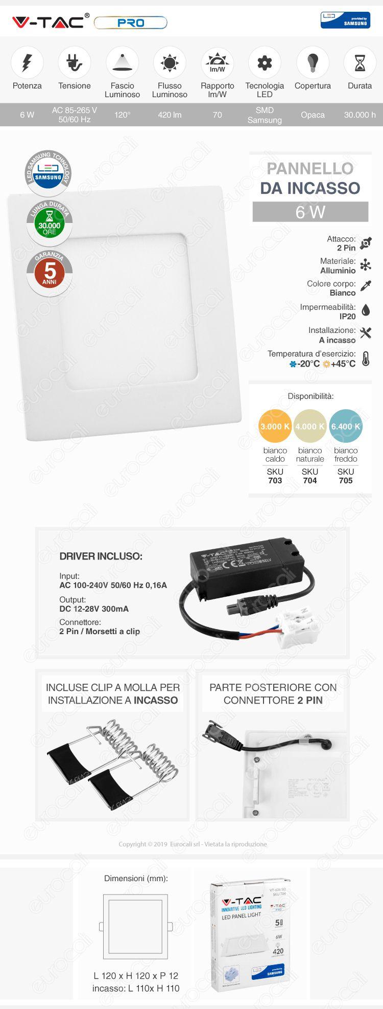 V-Tac PRO VT-606 SQ Pannello LED Quadrato 6W SMD da Incasso con Driver con Chip Samsung