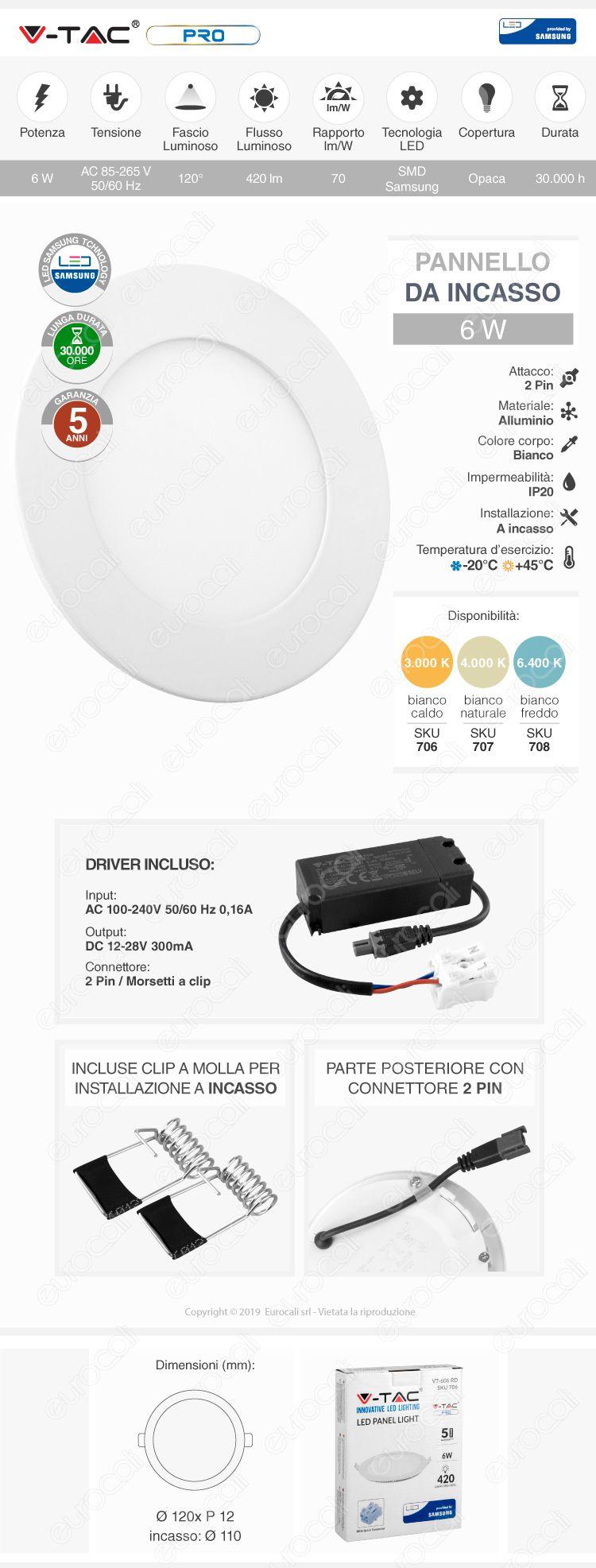 V-Tac PRO VT-606 RD Pannello LED Rotondo 6W SMD da Incasso con Driver con Chip Samsung