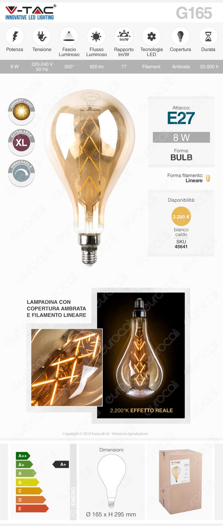 V-Tac VT-2159 Lampadina E27 Filamento LED Lineare 8W Bulb G165 con Vetro Ambrato Dimmerabile