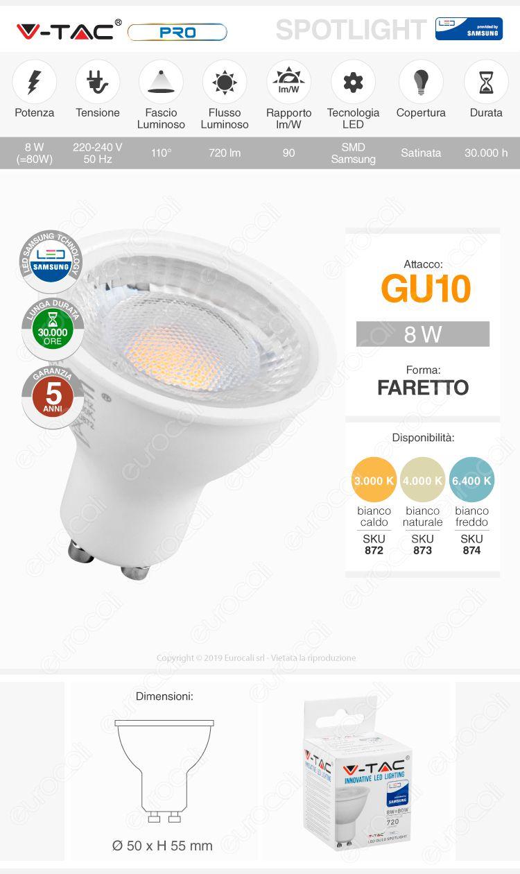 V-Tac PRO VT-292 Lampadina LED GU10 8W Faretto Spotlight Chip Samsung 110°