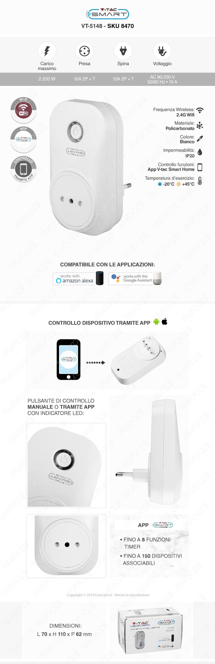 Spina Wi-Fi Intelligente Italiana 10A 2P V-Tac Smart VT-5148
