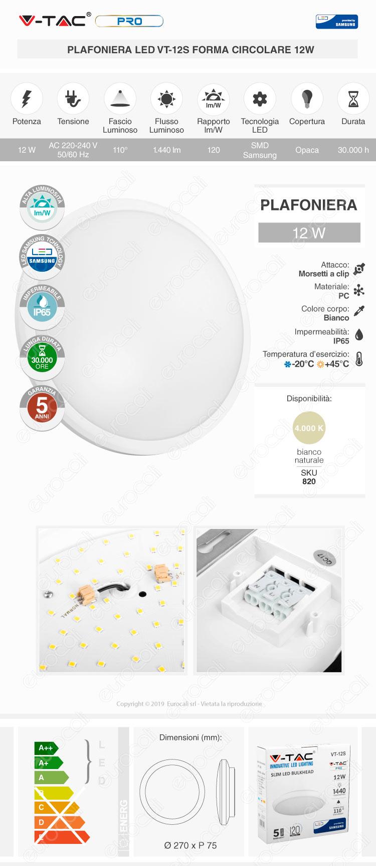 V-Tac PRO VT-12 Plafoniera LED 12W Forma Circolare Bianco Chip Samsung