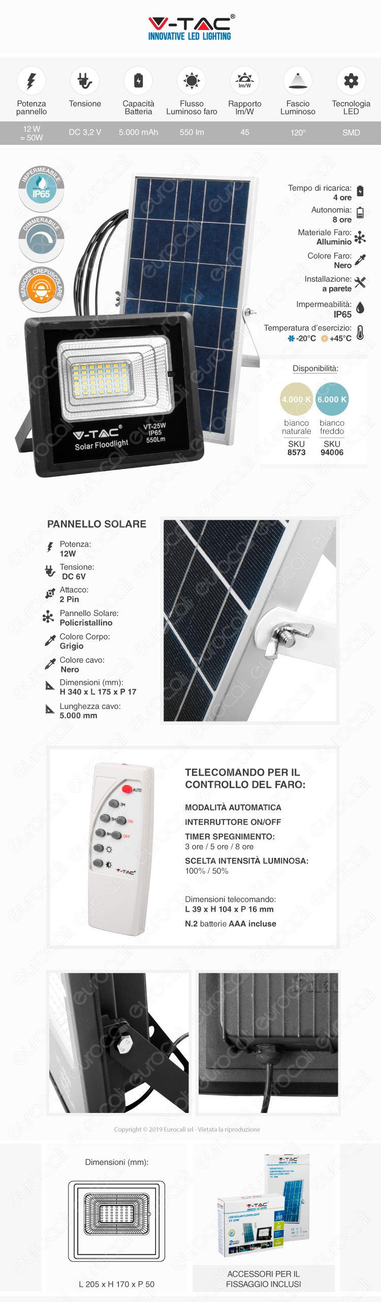 V-Tac VT-25W Faro LED 25W a Batteria con Pannello Solare e Telecomando