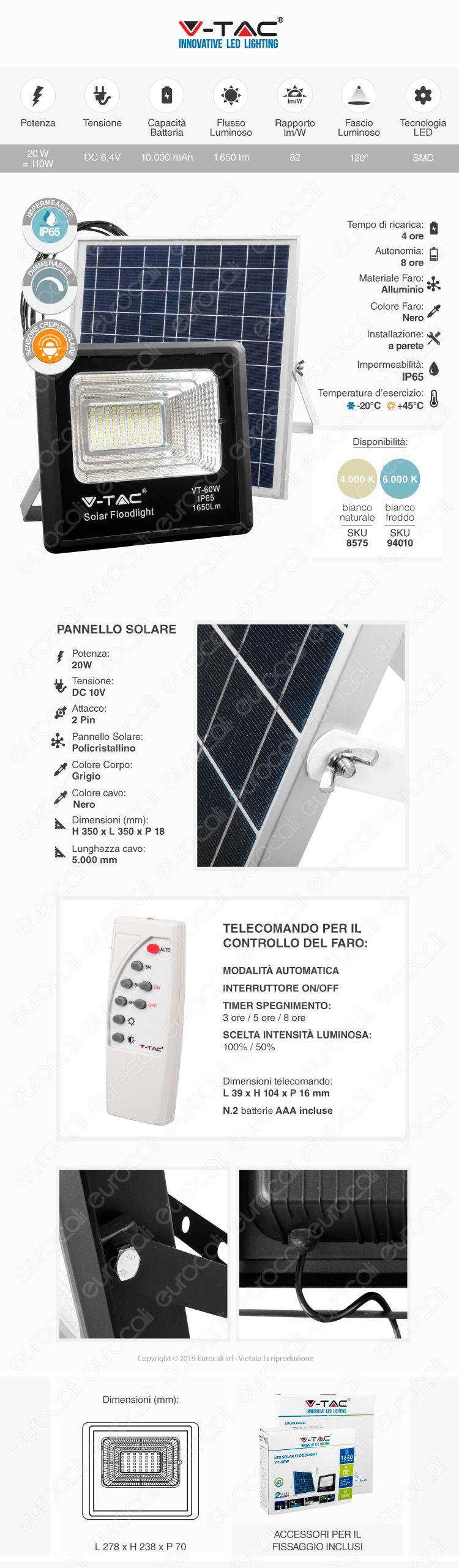 VT-60W V-Tac Faro LED 60W a Batteria con Pannello Solare e Telecomando