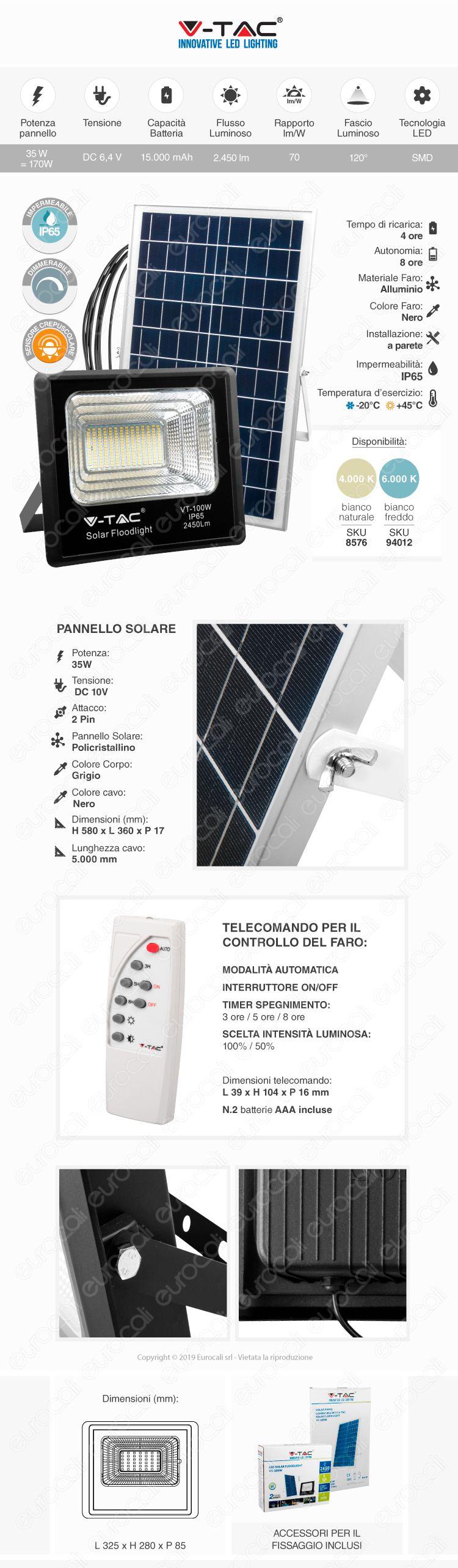 V-Tac VT-100W Faro LED 100W a Batteria con Pannello Solare e Telecomando
